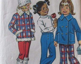 Simplicity 6638/Vintage Sewing Pattern/Girls Size 2 Jacket and Bell-bottom Pants/Chest 21/Double Breasted Jacket/1974