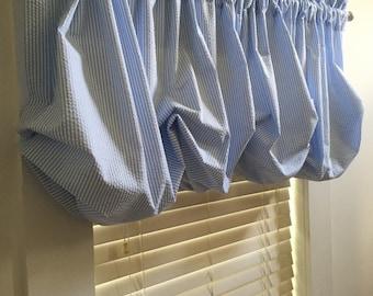 Baby Boy Blue Seersucker Balloon Curtain Without Ruffles