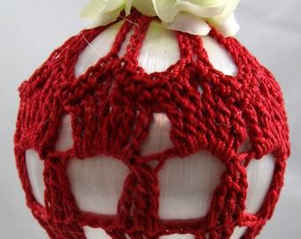 Red Crochet Covered White Satin Ornament 117