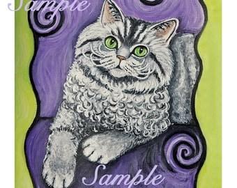 Cat nightshirt Selkirk Rex Cat nightshirt, cat, kitten, curly cat purple green swirls silver tabby cat