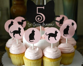 Custom Pink Black Kitty Cat Cupcake Toppers Food picks 12 piece