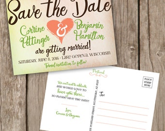 Save the Date Postcard - Fun and Colorful Save the Date Postcard - Save the Date Cards - Coral and Green Save the Date - Fun Save the Date