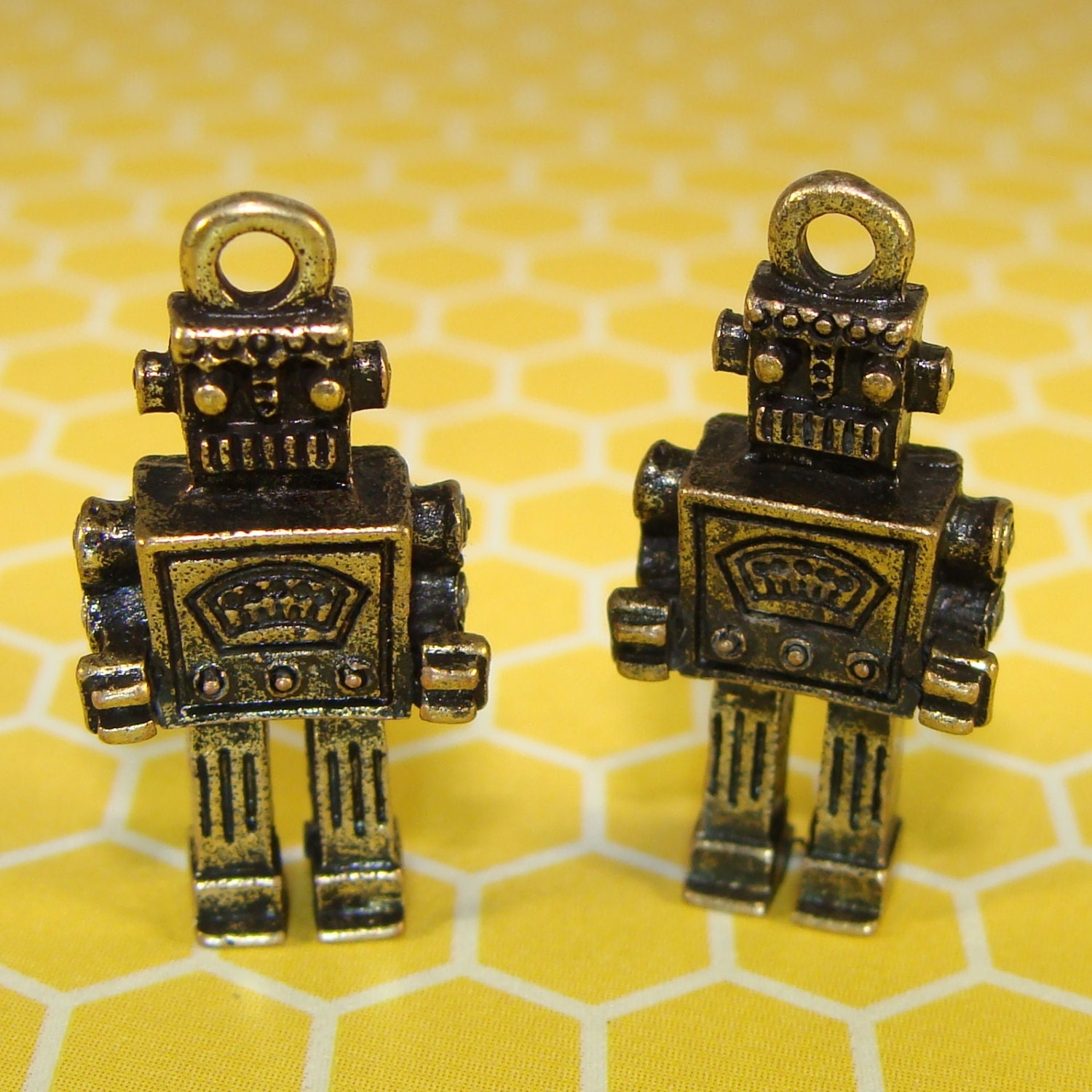 2 rockem sockem robot charms antique bronze 31512 original