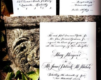 Calligraphy Wedding Invitation On Cotton Royalty Cardstock: Handwritten with Calligraphy in Raised Thermography couture luxury Love No. 6778