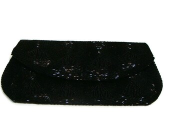 Vintage Black Seed Bead Clutch Clutches and Evening Bags Small Clutch Purse Vintage Evening Purses Vintage Black Clutch Bag Small Handbags