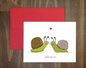 naughty valentines day / i wanna snail you / slow snail card / funny pun card / anti-romance card / i wanna nail you / for partner /blank