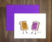 food pun card / peanut butter and jelly smush / sex card / deliciously messy love / blank inside / great for any occasion / anniversary