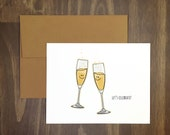 toast card / let's celebrate / congrats champagne toast / wedding card / new job / hooray / celebration card / new house / new baby / yay