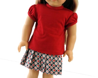 18 Inch Doll Clothes Back to School Pleated Skirt and Cap Sleeve Tee