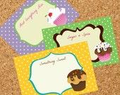 Printable Recipe Cards - Polka Dot Cupcakes (set of 6)