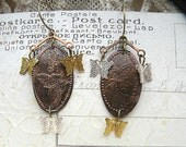 copper penny souvenir earrings assemblage butterfly mismatch spring repurposed jewelry