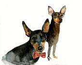 CUSTOM of your favorite couple OF PETSOriginal watercolor painting 8X10inch