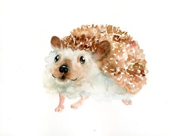 HEDGEHOG Original watercolor painting 10x8inch