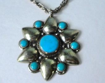 Bell Trading Company  Flower shaped with Turquoise Pendant Necklace