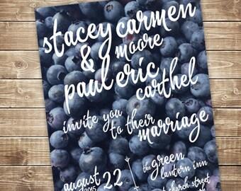 Printable Wedding Invitation Set - Invite, RSVP Card, Info Card -  Blueberry