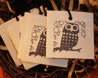Retro Owl Mini Coffee Stained Tags Gift and Favor Hang Tags Set of 20
