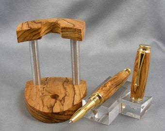 Olivewood Rollerball with Matching Olivewood Stand