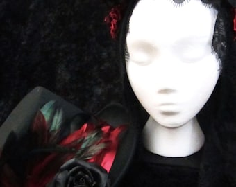 Day of the Dead Headdress and Top Hat Set in Various Shades of Red