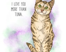 Cat kitten love you tuna pet greeting card