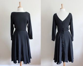 Vintage 1980s does 1940s Black Button Back Dress