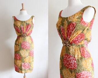 1960s Dress / Vintage Miss Elliette 60s Floral Dress