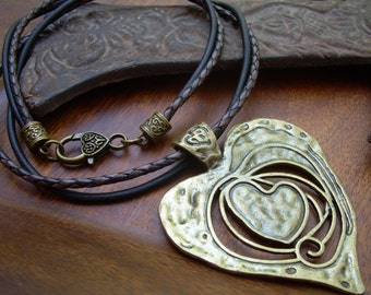 Heart Pendant On A Leather Necklace, Heart Necklace, Womens Jewelry, Heart Pendant, Pendant, Antique Bronze, Womens Gift,