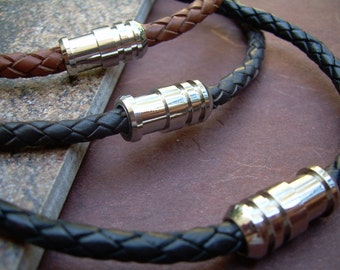 Mens Leather Necklace with Stainless Steel Magnetic Clasp, Leather Necklace, Mens Necklace, Mens Jewelry, Mens Gift, Necklace, Jewelry