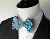 Dark Teal Floral Bowtie  - Perfect for Easter Sunday!                      2 weeks before shipping
