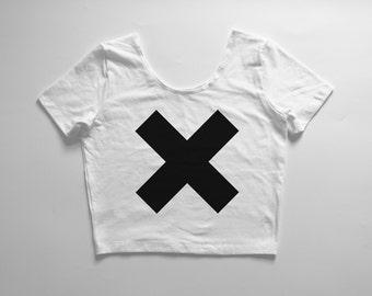 X | White crop tee