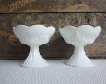 Vintage Pair of Milk Glass Candle Holders Grape Vine Panel Design