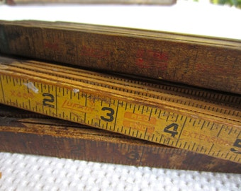 Vintage Lufkin Royal Wood Folding Rulers with Brass Extension Collection