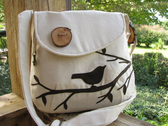 Small Pleasures Purse /Bird Tote /Off White Water Repellent Canvas /Eco Friendly/School Bag /More Colors Available