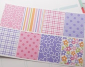 8 Pink and Purple Flower Squares Full Box Planner Stickers PS163