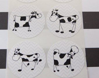 24 Cow Stickers Envelope Seals Scrapbook Stickers Calendar Stickers SES246