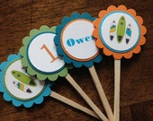 Surf Cupcake Toppers, Surf board cupcake toppers, Beach cupcake toppers, birthday cupcake toppers - Set of 12