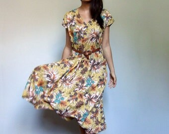 Vintage Yellow Floral Day Dress 80s Tropical Print V Neck Casual Summer Dress Mustard Green Orange - Large L