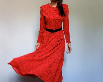 Red and black long sleeve midi dress