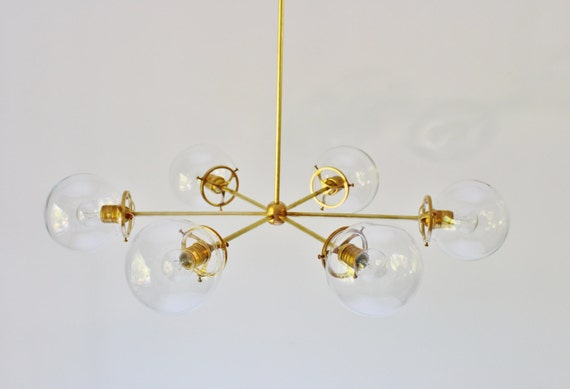 brass globe chandelier 6 clear glass globe shades large modern handmade hanging pendant lighting fixture by bootsngus