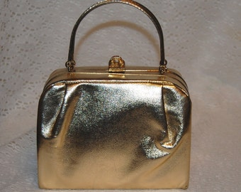 Gorgeous VINTAGE GOLD Harry Levine Evening Clutch w/ jewel clasp