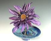 Ikebana Vase with Flower Frog / Kensan in Purple Rain Glaze / Wheel Thrown Pottery in Stoneware Clay