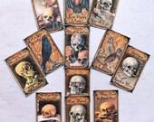 12 SKULL STICKERS Gorey gruesome creepy skulls Skull decorations skull stickers skulls & ravens humorous stickers skull Halloween banners