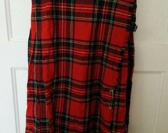 red plaid kilt skirt uniform tartan LL Bean made in Scotland wool schoolgirl bondage punk grunge normcore