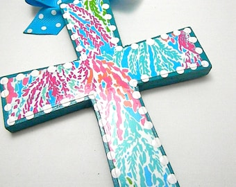 Lilly Inspired Wooden Crosses-Lilly Pulitzer Crosses - Hand Painted Crosses-Decoupaged Crosses