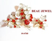 FREE SHIP Red Beau Jewels Brooch And Earrings Demi (4-4760)