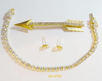 FREE SHIP Rhinestone Arrow Brooch, Tennis Style Bracelet And Tiny Earrings (4-4743)