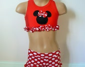 Toddlers Girls Minnie Mouse Cheer Costume. Minnie Mouse Dance Costume. Sports Bra. Shorts. Performance Costume.  SIZES 2t -  Girls 10
