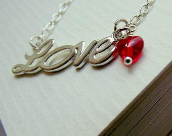 Love necklace, silver necklace, word necklace