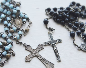 2 Vintage Rosaries - pale blue and black - souvenir of Rome