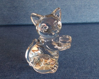 Vintage Small Clear Glass Cat