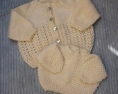 Vintage Aran Cable Knits, Fisherman Cardigan & Sweater, Pair of 2 Sizes, Babies Clothes, Baby Boy / Girl, 3-9 Mths, Jacket, Free Shipping